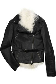 Alexander McQueen Shearling and Leather Biker Jacket - Lyst