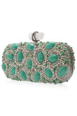 Marchesa Crystal and Stone Clutch in Green - Lyst