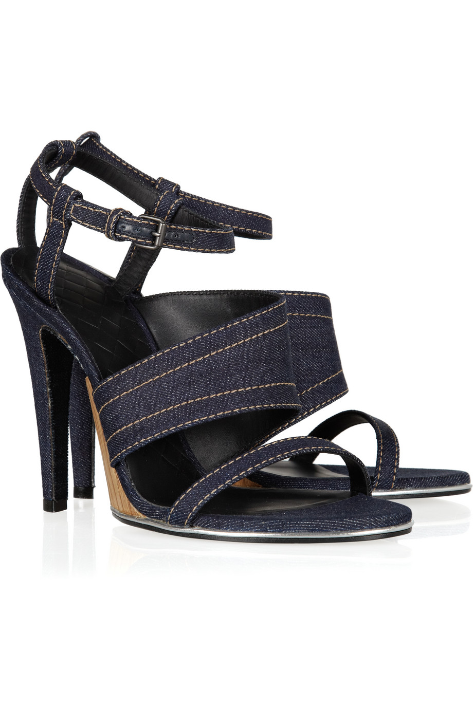 Bottega Veneta Leather Square-toe Thong Sandals in Black