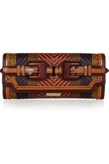 Burberry Prorsum Woven Leather and Raffia Clutch - Lyst