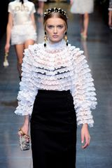 Dolce & Gabbana Fall 2012 Sheer Lace Ruffle Blouse  - Lyst