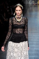 Dolce & Gabbana Fall 2012 Black Long Sleeve Sicilian Baroque-inspired Laced Blouse