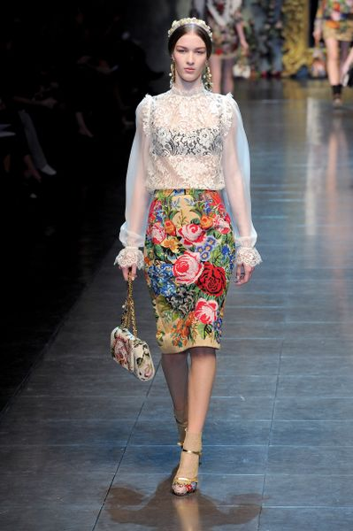 Dolce & Gabbana Fall 2012 KneeLength Floral Pencil Skirt in Multicolor (white) - Lyst