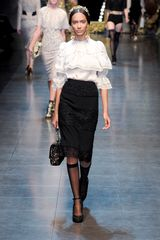 Dolce & Gabbana Fall 2012 Knee Length Pencil Skirt With Lace Panels In Black  - Lyst