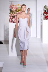 Jil Sander Fall 2012 Knee Length Strapless Corset Dress With Side Sleeves And Contrasting Fold Detail In White  - Lyst