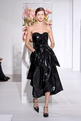 Jil Sander Fall 2012 Strapless Corseted Mid Length Dress In Lacquered Leather With Front Pockets In Black