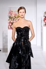 Jil Sander Fall 2012 Strapless Corseted Mid Length Dress In Lacquered Leather With Front Pockets In Black  in Black - Lyst