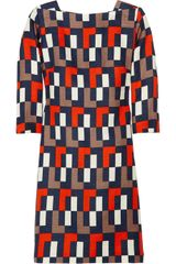Milly Julia Geometric-print Linen and Silk-blend Dress - Lyst