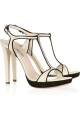 Miu Miu Two-tone Suede Sandals - Lyst