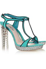 Miu Miu Suede, Glitter and Crystal Sandals - Lyst