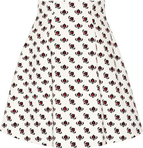 Miu Miu Printed Cotton A-line Skirt in White