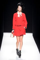 Moschino Fall 2012 Collarless Jacket  in Red - Lyst