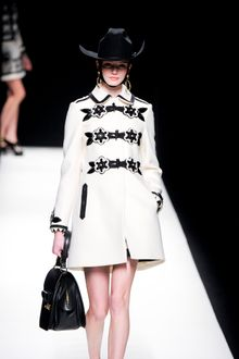 Moschino Fall 2012 White Long Band Leader Inspired Coat with Floral Ornamented Enlarged Buttons  - Lyst