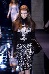 Versace Fall 2012 Knee Length Pencil Skirt With Crucifix Lace In Black And White in Black - Lyst