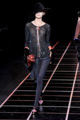 Giorgio Armani Fall 2012 Black Semi-Sheer Long Sleeve Top With Sequin - Lyst