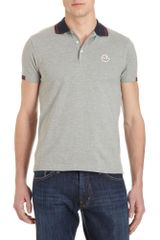 Moncler Slim Fit Polo in Gray for Men (red) - Lyst