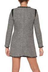 Space Tweed Coat in Gray (black) - Lyst
