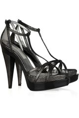 Stella Mccartney Viola Metallic Faux Nubuck Leather Sandals in Black - Lyst