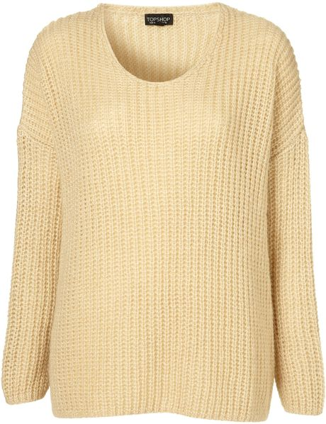Knitting Pattern Mohair Jumper : Topshop Knitted Rib Mohair Jumper in Beige (off white) Lyst