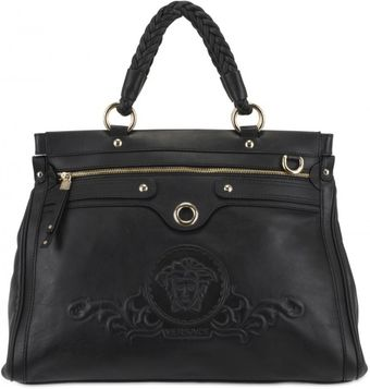 Versace Embossed Logo Leather Top Handle - Lyst