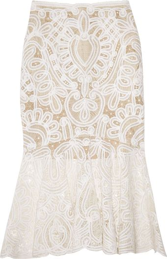 Alexander McQueen Crochet-embroidered Silk-organza Skirt - Lyst