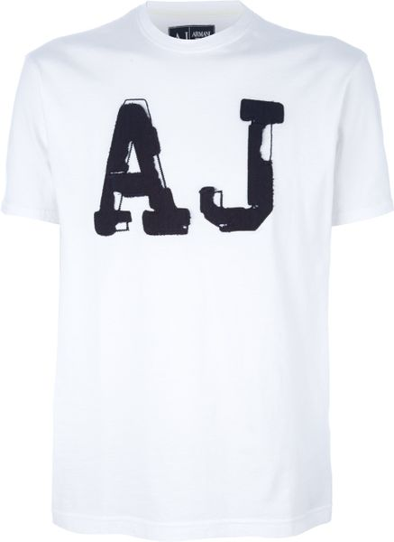 Armani Jeans Patch Detail Tshirt in White for Men - Lyst