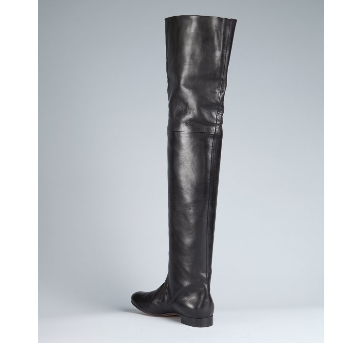 Céline Black Leather Thigh-high Flat Boots in Black | Lyst