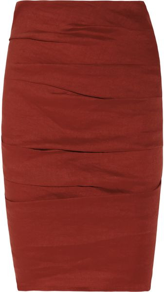 La Petite Salope Ruched Stretch Linen-blend Pencil Skirt - Lyst