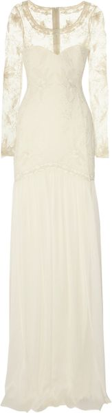 Temperley London Belle Embroidered Lace and Silk-chiffon Gown in White (ivory)