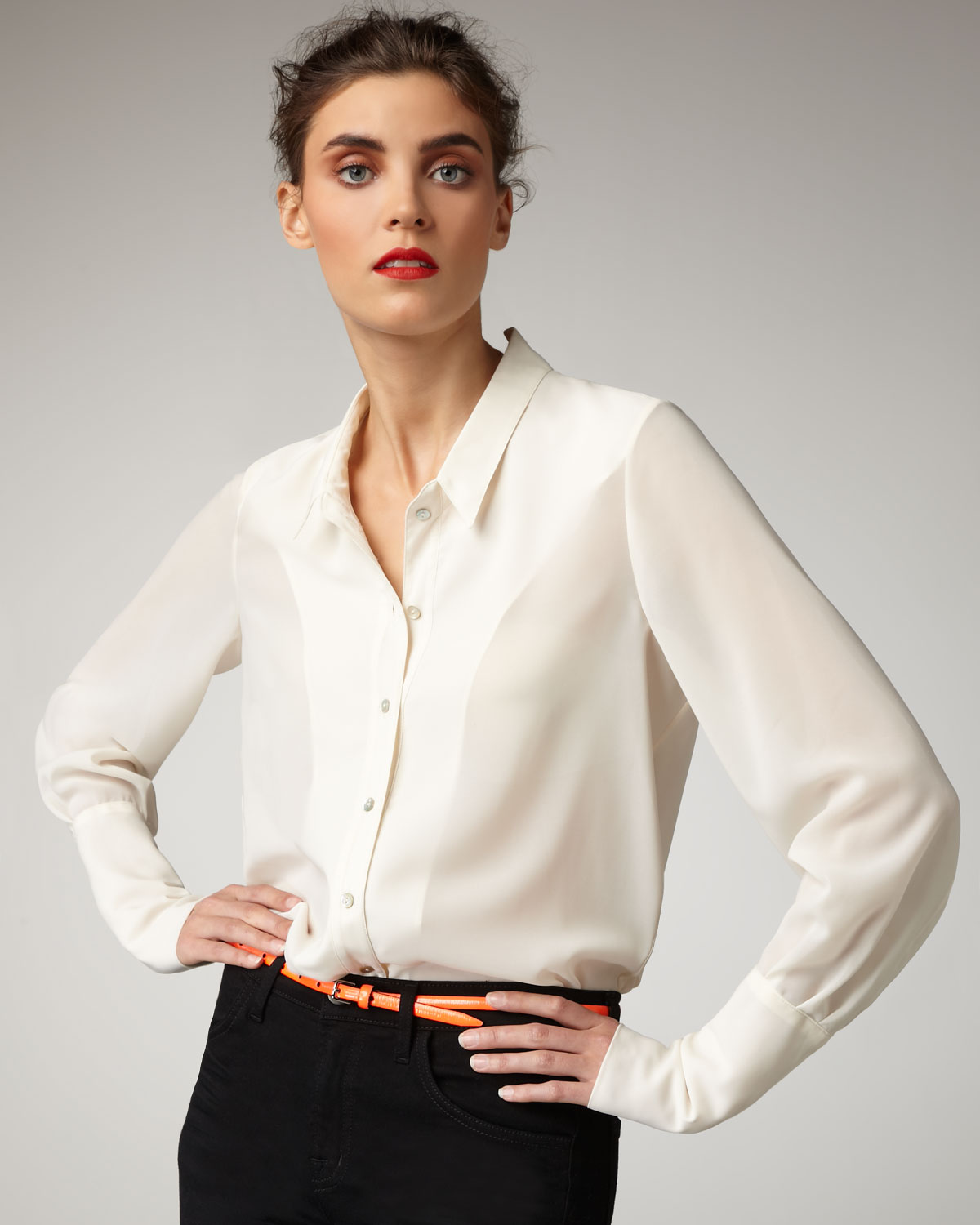 Theyskens' theory Silk Blouse in Brown