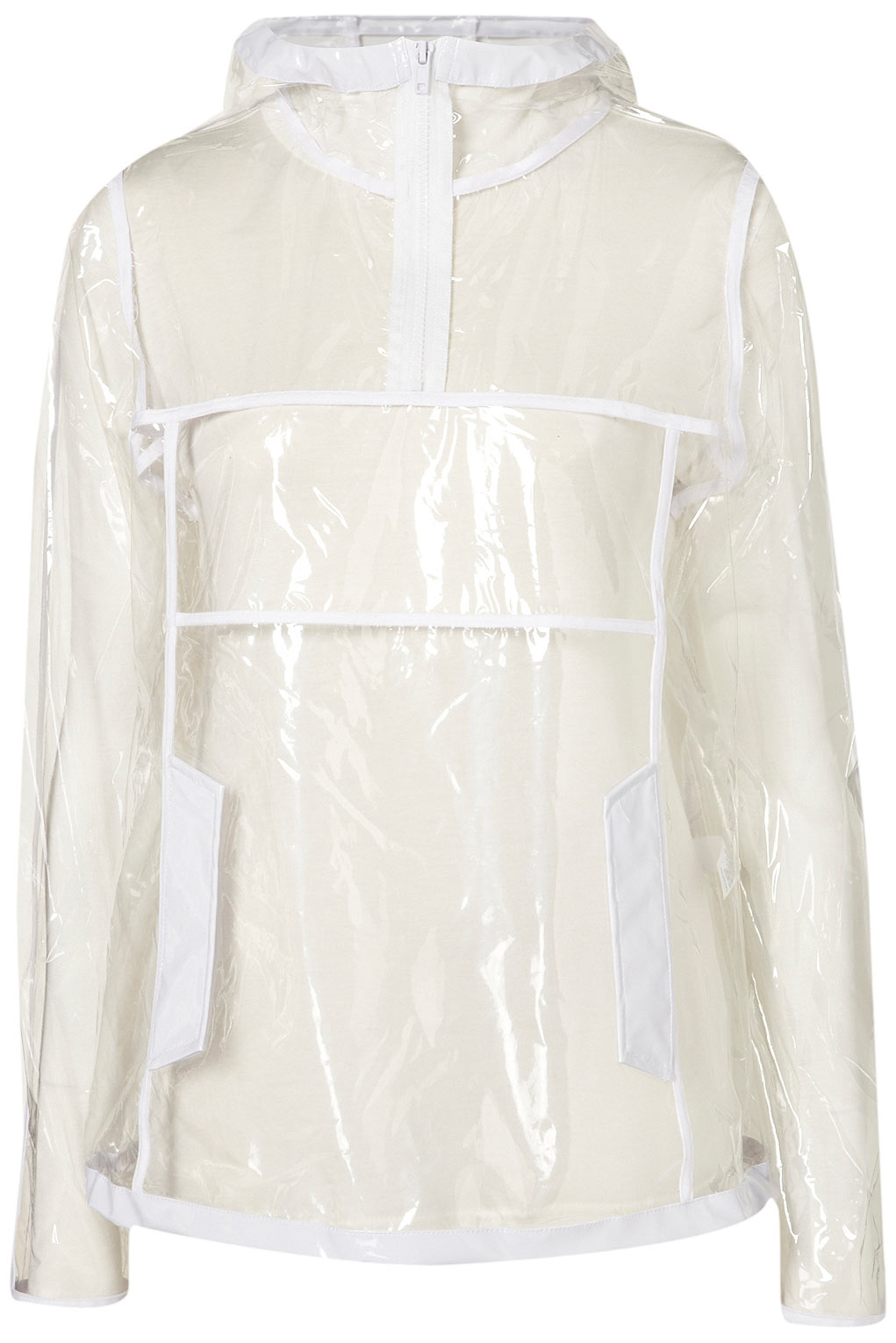 Lyst topshop clear plastic rain coat in natural for Clear plastic dress shirt bags