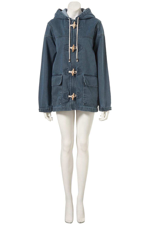Topshop Denim Duffle Coat in Blue | Lyst