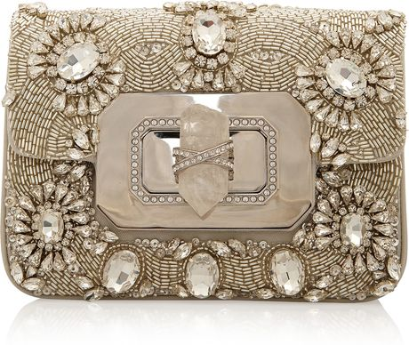 Marchesa Crystal Chain Strap Eve Bag in Silver - Lyst