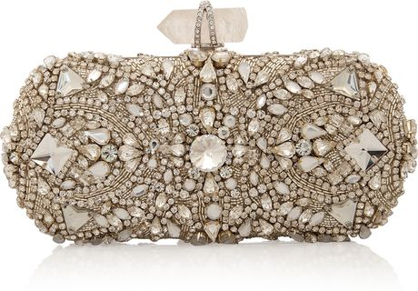 Marchesa Crystal Embroidered Clutch in Silver - Lyst