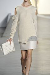 3.1 Phillip Lim Overlapped Seam Leather Skirt in Beige - Lyst