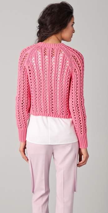 Lyst 3 1 Phillip Lim Open Weave Cropped Sweater In Pink