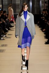 Balenciaga Fall 2012 Gray Buttonless Long Coat With Wide Sleeves in Gray - Lyst