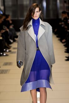 Balenciaga Fall 2012 Gray Buttonless Long Coat With Wide Sleeves - Lyst