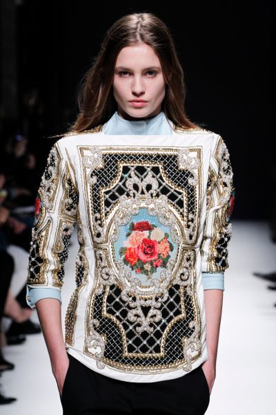 Balmain Fall 2012 Leather Embellished Sweatshirt with Needlepoint Cameo in Multicolor - Lyst