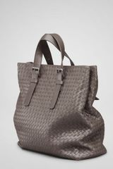 Bottega Veneta Cloth Intrecciato Light Calf Shopper - Lyst