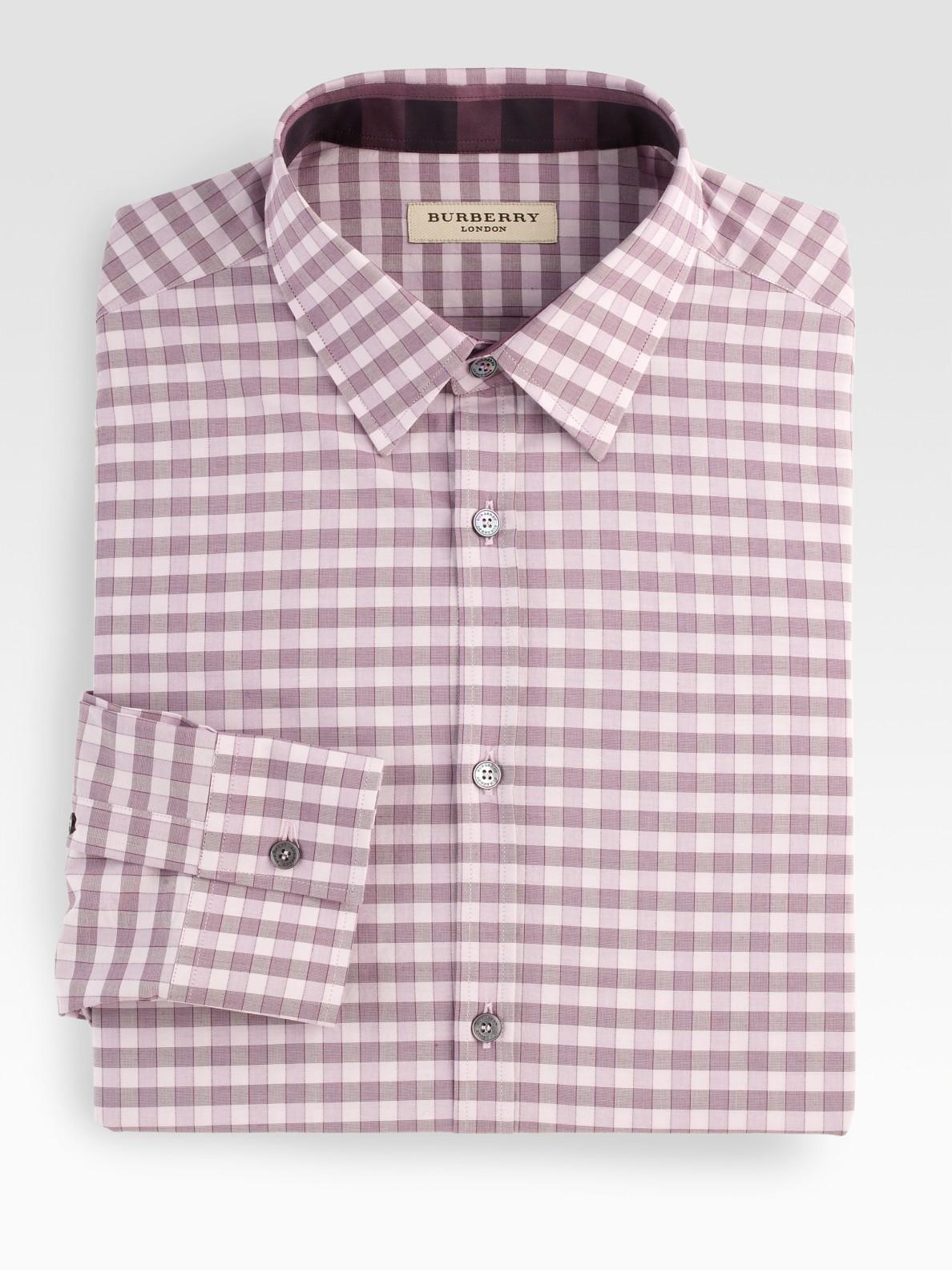 Burberry Gingham Check Dress Shirt In Purple For Men