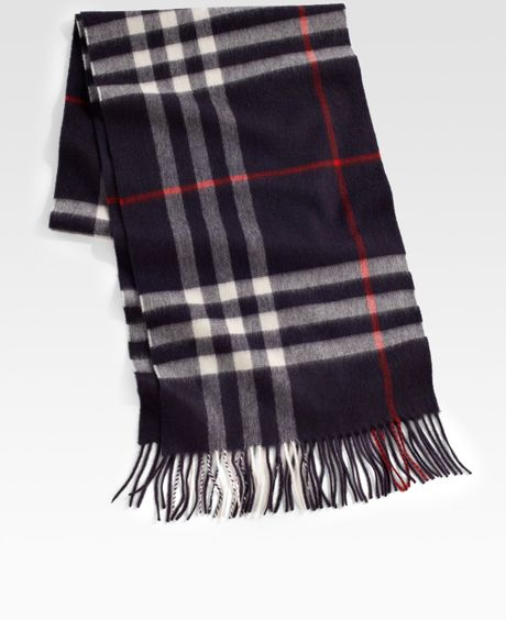 Burberry Cashmere Check Scarf in Blue for Men navy  Lyst  Burberry Mens Scarves