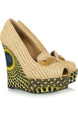 Burberry Prorsum Woven Raffia and Printed Wedge Pumps - Lyst