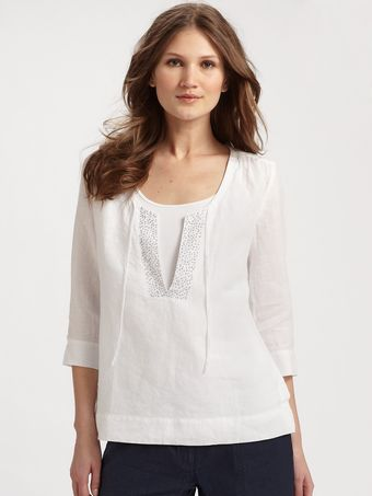 Eileen Fisher Handkerchief Linen Sequin Top - Lyst