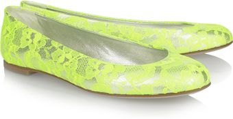 Giuseppe Zanotti Neon Lace-covered Metallic Leather Ballet Flats - Lyst
