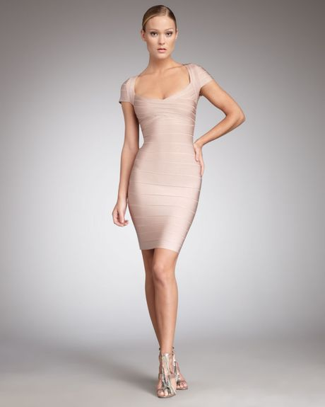 Hervé Léger Shortsleeve Bandage Dress in Beige (bare 2j7) - Lyst