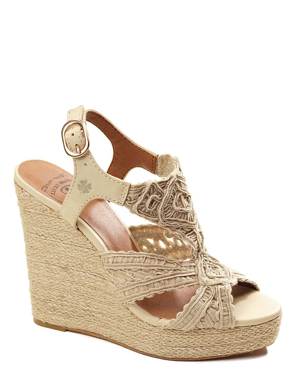 lucky brand ridgeview wedge sandals in beige buff lyst