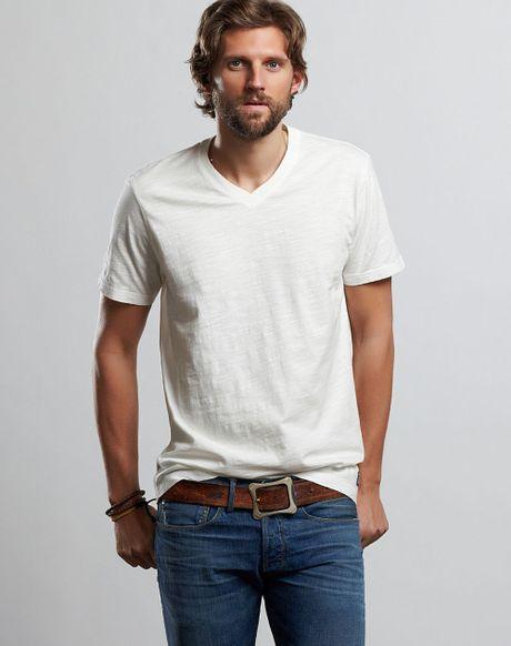 Lucky brand slub v neck t shirt in white for men lucky for Branded v neck t shirts