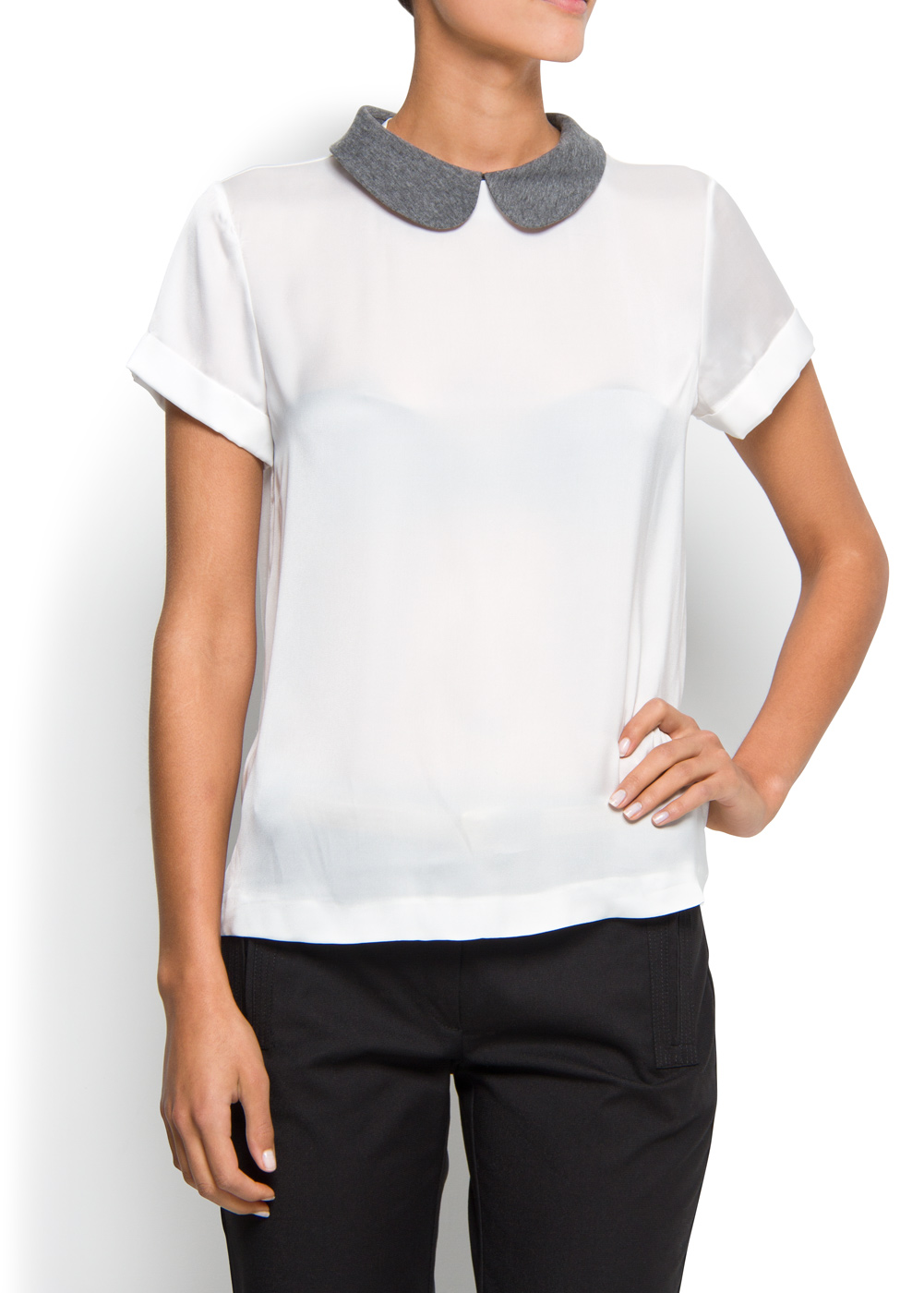 Womens Peter Pan Collar Blouse White 109