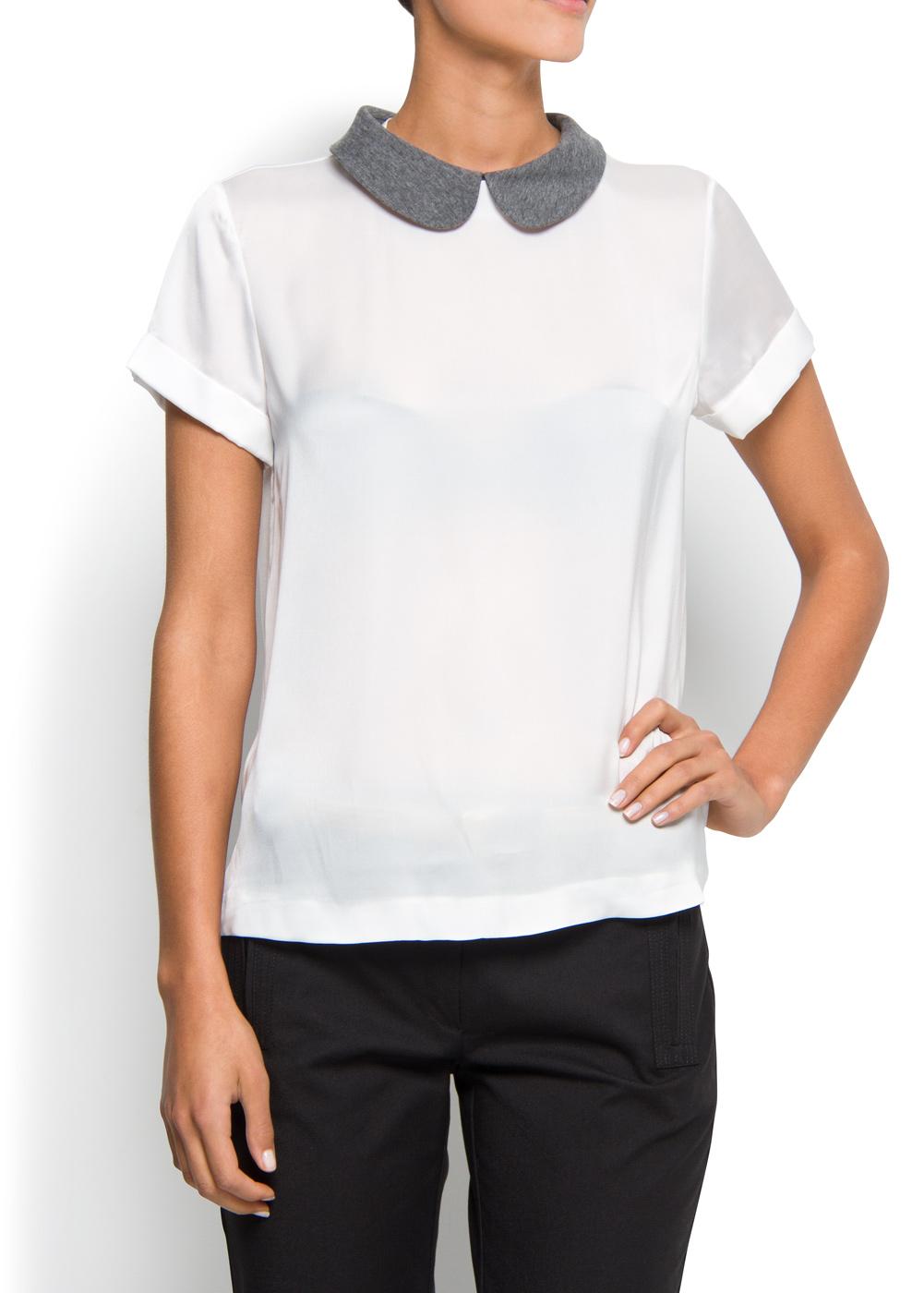Womens Peter Pan Collar Blouse White 109